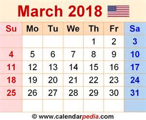 Calendar 2018 March March 2018 Calendars For Word Excel Pdf