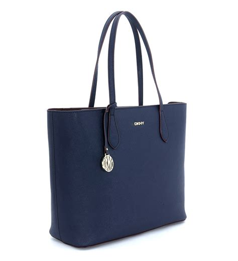 dkny grafter blue leather dkny shopping shoulder bag in blue saffiano leather in