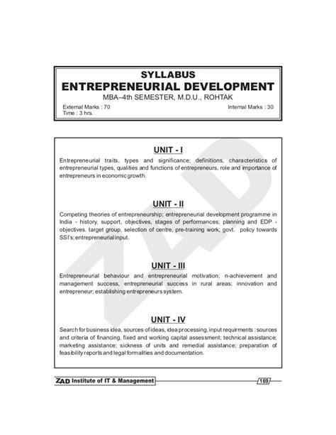 Entrepreneurship Pdf For Mba by Entrepreneurial Development