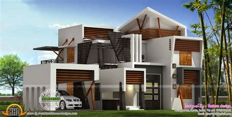 contemporary style house in 2300 square feet kerala home modern 214 square meter house plan kerala home design