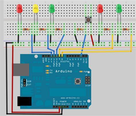 4 way traffic light arduino arduino diy traffic lights with a pedestrian crossing button