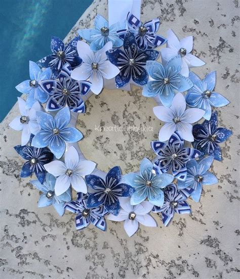 Origami Paper Flower Wreath / wedding decorations, origami