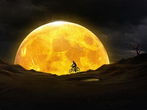 cycling  yellow moon wallpaper hd artist