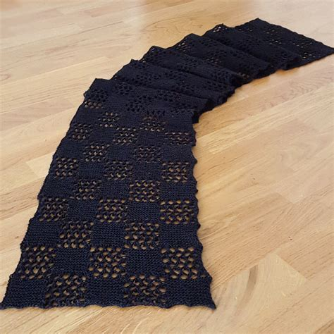 black pattern scarf knitting and so on checkered lace scarf