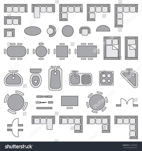 home design elements standard furniture symbols used architecture plans stock