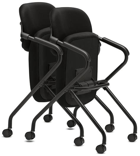 Nesting Chairs by Basyx Vl303 Mesh Back Nesting Arm Chair