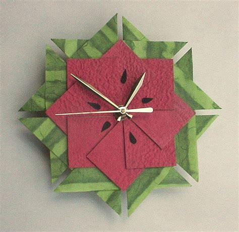 How To Make An Origami Clock - watermelon kitchen clock origami clock large