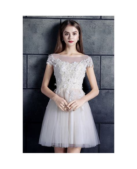 High Neck Sleeve A Line Dress cheap wedding dresses lace with sleeves white high