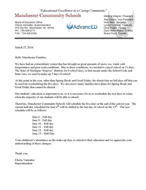Parent Letter Regarding Attendance School Year Extended Through June 13 The Manchester Mirror