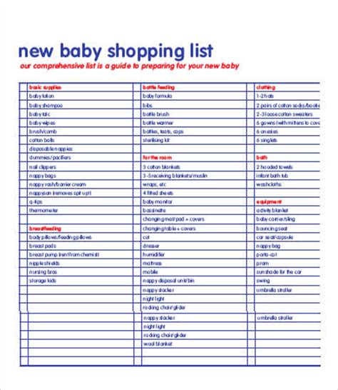 printable baby shopping list printable shopping list template 9 free word excel