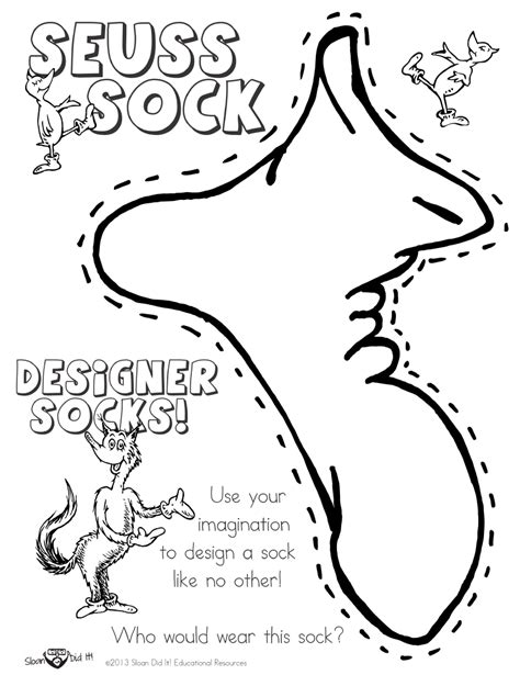 fox in socks coloring page dr seuss rhyming worksheets kindergarten free printable