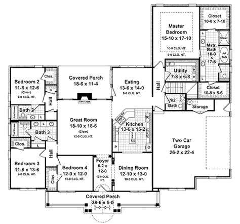 traditional style house plan 4 beds 3 5 baths 2750 sq ft