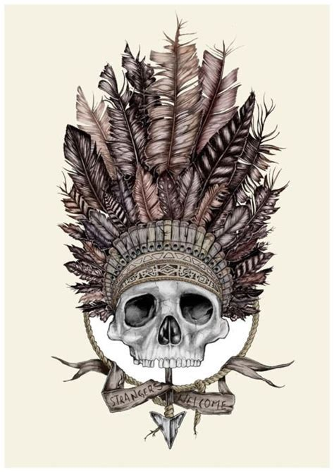 skull art headdress tattoos