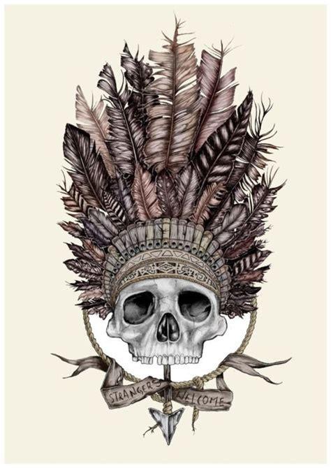 skull art headdress tattoos