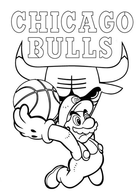 chicago bulls coloring pages super mario playing for nba