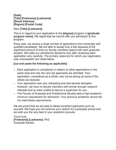 college rejection letter samples examples templatelab