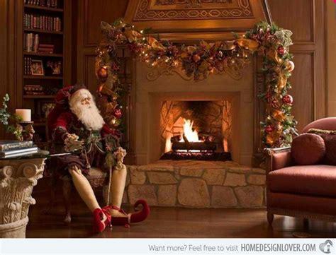 Santa Fireplace Picture by 15 Beautifully Adorned Fireplaces For The Season