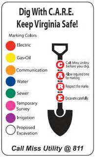 color code for utility marking call before you dig vbgov city of virginia