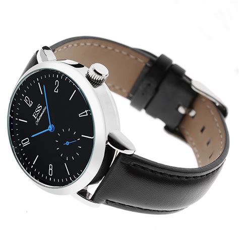 Jam Tangan Black Leather By ess jam tangan mechanical automatic leather wm573 591 592 black white