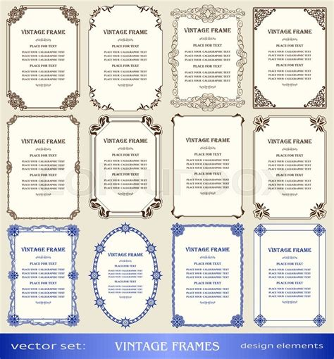 vintage frames and borders set book covers and pages