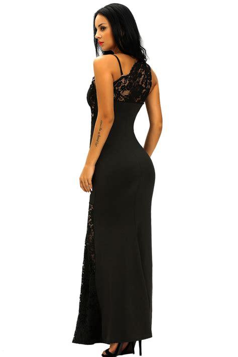 Shoulder Lace Evening Gown black lace insert one shoulder evening gown