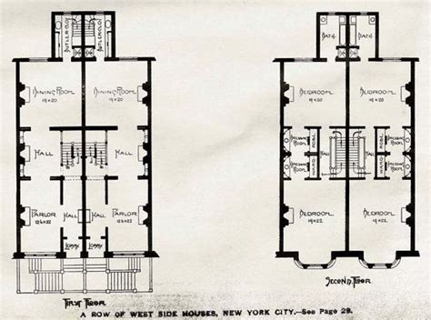 brownstone row house floor plans brownstone row houses west side new york usa by