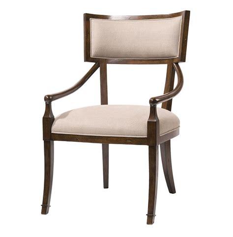 Elliott Greek Klismos Dark Brown Dove Linen Dining Arm Chair Dining Arm Chair