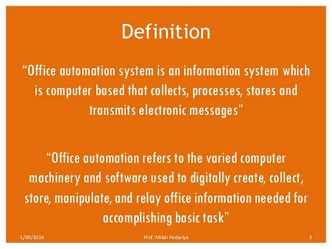 office definition office automation system