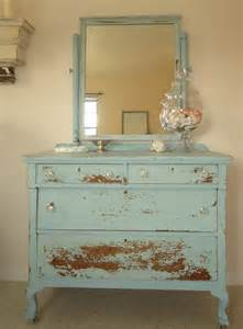 Chalk Paint For Kitchen Cabinets coastal light blue chippy distressed milk paint dresser