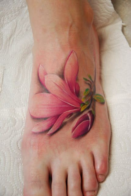 3d tattoo on foot 3d pink color lily tattoo on feet flower tattoos pinterest