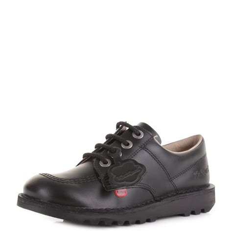 Kickers Boots Size 39 44 youth boys kickers kick lo black leather lace up school shoes uk size ebay