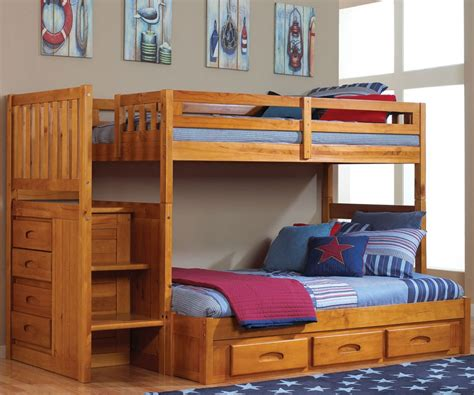 full and twin bunk bed trendy staircaseend as wells as ellington walnut finish