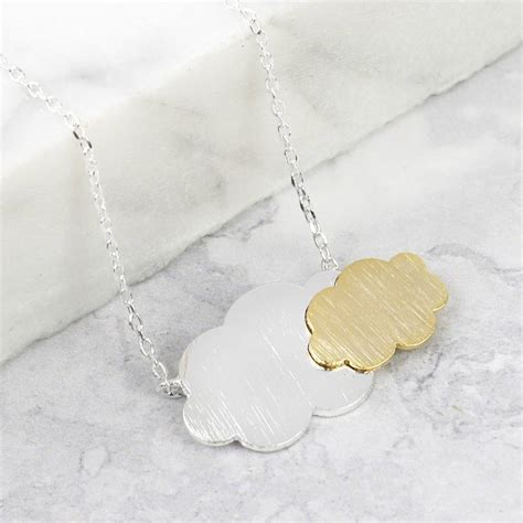 Cloud Necklace silver and gold cloud necklace by