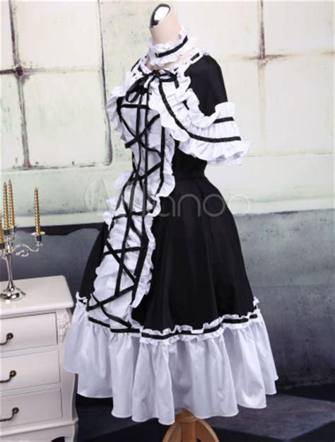 White Lace Black Cotton Dress ride de dentelle et blanche en coton et robe