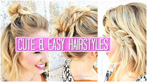 easy hairstyles for medium short hair 3 easy hairstyles for short medium hair tutorial cute