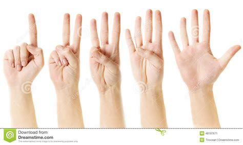 to finger counting from one to five with fingers stock image image