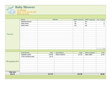 baby shower and party planner templates word excel templates