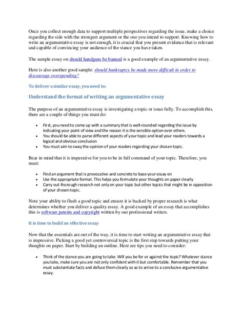 Guidelines For Essay Writing by Guidelines To Writing An Argumentative Essay