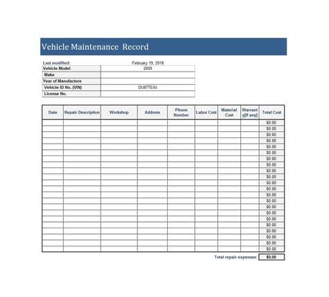 truck maintenance spreadsheet and vehicle maintenance plan