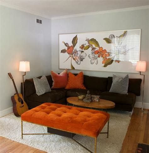 orange living room decor armless sectional sofa transitional living room