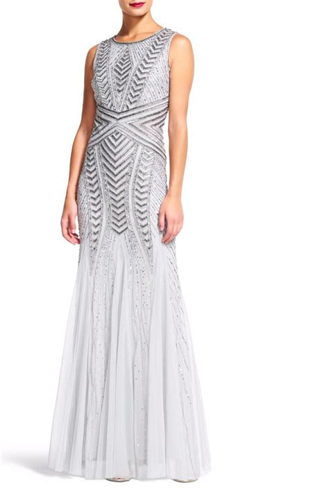 silver beaded gown papell silver beaded gown from dakota by