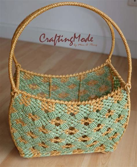 Macrame Pouch Pattern - bag basket medium macrame curved rectangular shape