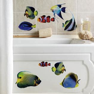 tropical fish bathroom decor collections etc tropical fish bathroom wall decals 14pc