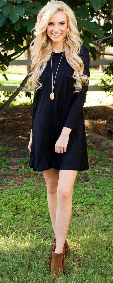 Ellegy Plain Casual Mini Dress black plain sleeve casual cotton mini dress mini dresses minis and cotton