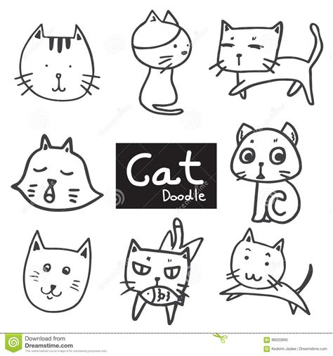 free vector doodle cat vector set of drawing cat in doodle black line on