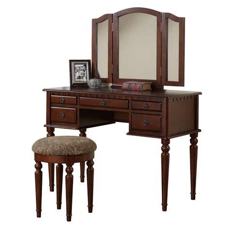 vanity stools for bedroom poundex furniture f407 bobkona st croix vanity set with