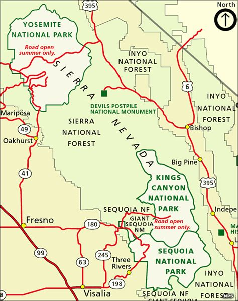 california map sequoia national park and sequoia national parks california