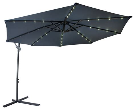 Patio Umbrellas With Led Lights 10 Deluxe Offset Patio Umbrella Led Lights Contemporary Outdoor Umbrellas By Trademark