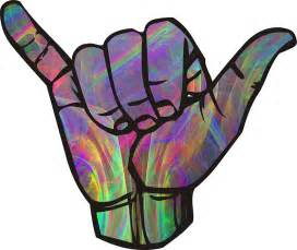 Rainbow smoke hang loose shaka sign quot stickers by ohdeer redbubble