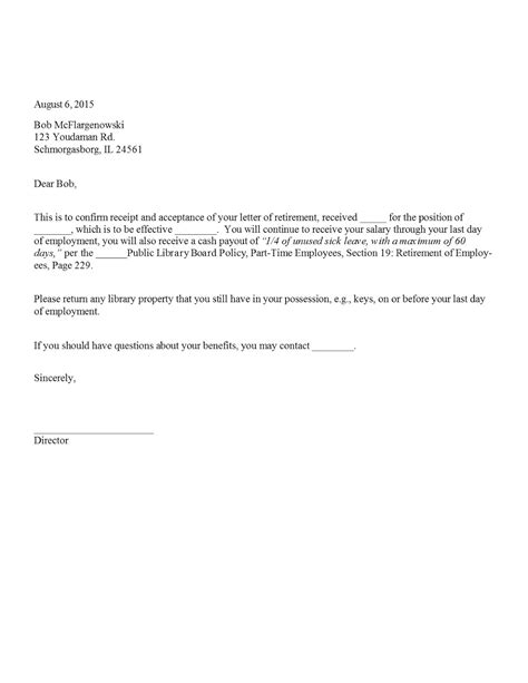 Acceptance Letter Retirement Sle Retirement Acceptance Letter